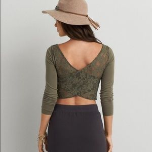 4/$16 American Eagle Lace Long Sleeve Crop Top XS